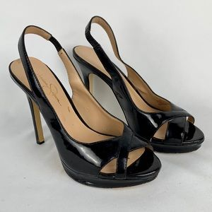 Jessica Simpson Aruba Black Patent Leather Heels